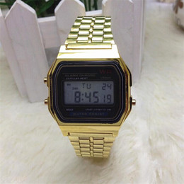 Wholesale Wholesale Metal Tables - 2015 Men women Metal table gold and silver F-91W watch f91w fashion-thin LED A159W-N1 photoelectron watch