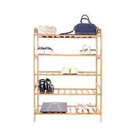 Wholesale Shoe Cabinet Rack - 5-Layer Portable Bamboo Splint Shoe Rack Organizer Storage Cabinet Shelf Wood Color