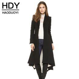 HDY Haoduoyi Herbst Winter Frauen Schwarz Langarm Trenchcoat Mode Wollmischung Mäntel Damen Warme Trenchcoats Dame Outwears q1109 von Fabrikanten