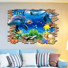 Wholesale Adhesive Decorative Wallpaper - 3D Sea World Wall Stickers Submarine World Decorative Wall Decal Cartoon Wallpaper Kids Party Decoration Christmas Wall Art