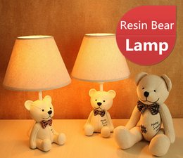Wholesale Bow Lamp - Nightlight stylish simplicity, idyllic cartoon bear small lamp, creative bedroom bedside lamp, bow tie Bear resin small table lamp