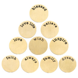 Wholesale Word Charms Floating Locket - Free Shipping! 27.5mm 22.5mm 17.5mm Gold 316L Stainless Steel Plates for Floating Charm Lockets (10 word, 10 pcs word)