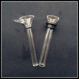 Wholesale Rubber Funnel - Thick Glass Male Slides and Female Stem Slide Funnel Style with Black Rubber Simple Downstem for Water Glass Bong Glass Pipes