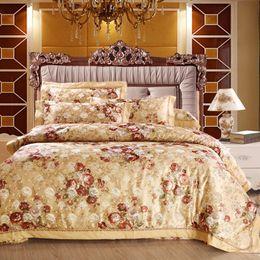 Wholesale Fancy Bedding - Wholesale-Fancy cotton jacquard bedding bed set 4pcs duvet quilt duvet cover queen king Size pillow covers cotton bed sheets jogo de cama