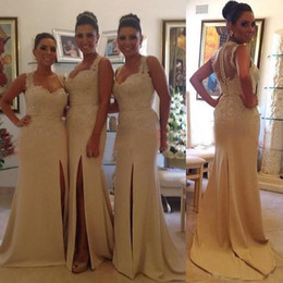 Wholesale Unique Bridesmaid - New Brazil Unique Sweetheart Two Straps Cover Sheer Back Slit Mermaid Chiffon Lace Beaded Long Bridesmaid Dresses 2015 Cheap Evening