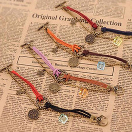 Wholesale Infinity Jewellery - Infinity Bracelet 12 Horoscope Vintage Weave Bracelets Antique Charm Braided Wrist bands Jewellery Casual Adjustable Wrap Gifts for Women
