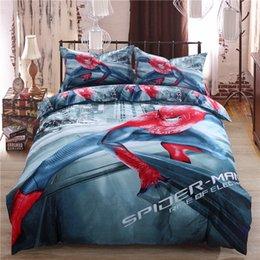 Wholesale 3d Oil Painting Bedding 4pcs - 2016 new 3D 100% cotton oil painting 3pcs 4pcs sheet set super hero spiderman bedding sets Twin queen king size