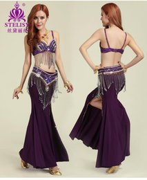 Wholesale Indian Dancing Clothes - new women belly dance 3 Pcs   sets (Tops & Skirts & Waist chain) Belly dance Stage performances clothes costume indian dance wear
