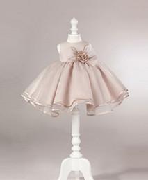 Wholesale Girls Tea Length Formal Dresses - 2016 Cheap Flower Girl Dress Little Girl Dresses Princess Gown Jewel Organza Tea-Length Formal Girls Wedding Dress