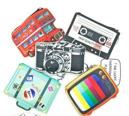 Wholesale Purse Camera - Mini Cute Coin Purses Cartoon Key Ring Wallets Accessories Zipper Girl Bag Pendant Bus Camera TV design coin bag KKA3575
