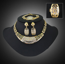 Wholesale Nacklace Set Gold - Fashion Jewelry Sets Crystal 18K Gold Plating Mosaic Crystal Cube Nacklace Earrings Ring Jewerly Sets For Women African Jewelry Set -J374