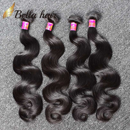 Wholesale 4pc 22 18 - Human Hair Weaves Brazilian Hair Bundles Extensions Body Wave Hair Weaves Weft Cheap Malaysia Peruvian Indian Double Weft 4PC 7A Bellahair