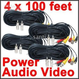 Wholesale Audio Power Cable Cctv - 100 feet Security Camera CCTV Audio Video Power Cables with Free BNC RCA Adapters