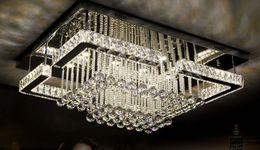 Canada Nouveau Moderne De Luxe Pandant Lumières Rectangulaire LED K9 Lustres En Cristal Plafond Monté Fixutres Foyer Lampes Lumières Pour Le Salon cheap luxury k9 crystal chandeliers Offre
