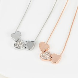 Wholesale Korean Selling Model - Korean version new short selling factory direct fashion models glossy hearts full of diamond necklace short paragraph clavicle spot