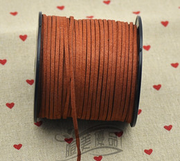 Wholesale Wholesale Leather Strings - black white brown 100M 3mm x 1.5mm Flat Faux Suede Korean Velvet Leather Cord string Rope Thread Lace Findings