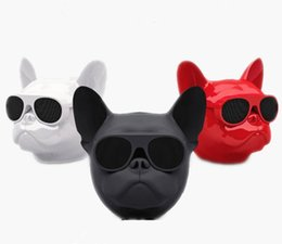 Wholesale Bull Dog Black - Aero Bull dog Portable Wireless Bluetooth Speaker with FM TF card High quality Bulldog Speakers Black Red White free DHL Free