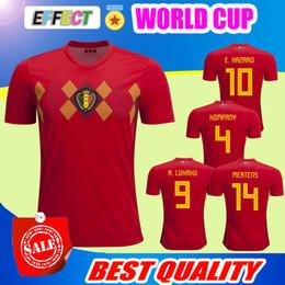 Wholesale Xl Tops - Belgium 2018 World Cup Home red top Thailand Quality LUKAKU FELLAINI E.HAZARD KOMPANY DE BRUYNE Soccer Jersey 18 19 Belgium football shirt