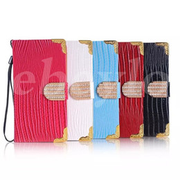 Wholesale Bling Cards - Fashion Phone Case Luxury Bling Diamond Buckle Lizard Leather Flip Wallet Cover Pouch Credit Card Holder For Iphone6 5 4 Samsung S6 150pcs