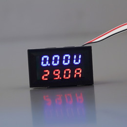 Wholesale Panel Meters - Wholesale-Red Blue LED DC 0-30V 10A Dual Display Voltage Meter Digital LED Voltmeter Ammeter ampermeter Panel Amp Volt Gauge Hot Sale
