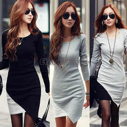 Wholesale Wear Sweater Dress - Women Fashion Sweater Dress Party Evening Casual Slim Knit Dresses New 2014 Winter Hot Selling Asymmetrial Knitwear 41