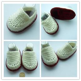 Wholesale Infant Ballet - 2015 Fashion Boy Crochet baby ballet shoes white boy handmade infant booties toddler shoes 0-12M cotton