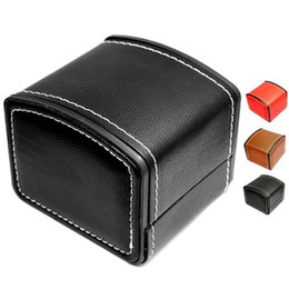Wholesale Men Jewelry Packaging - PU Leather Watch Boxes For Business Man Top Quality Black Brief Packaging Box For Watches Jewelry