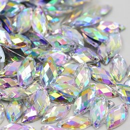 Wholesale Wholesale Sew Rhinestones - Crystal Clear AB Rhinestones Sew On Acrylic Flatback Fancy Shape Horse Eye Gems Strass Stones For Clothes Dress Crafts