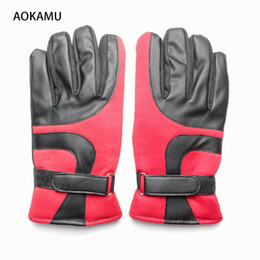 Wholesale Designer Gloves - AOKAMU New Men Climbing Gloves Brand Designer Winter Thicker Windproof skiing Glove Fashion Warm PU Leather Plush Gloves for Men