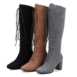 Wholesale Sexy Ladies Heel Knee Boots - Ladies Fashion Sexy Lace Up Knee High Boots 2018 Women Shoes Thick Heel Solid Black brown gery High Heels Plus Size33-40