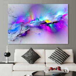 Wholesale Pictures Painted Homes - Decorative Picture Wall Art Colorful Clouds Painting for Living Room Home Decor no Framed