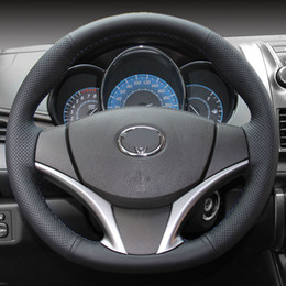 Wholesale Yaris Steering Wheel - Steering wheel cover Case for Toyota Yaris L 2014 VIOS Genuine leather DIY Hand-stitch Car styling Interior decoration