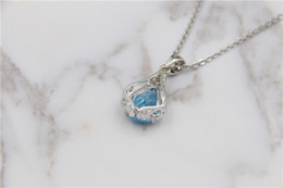 Wholesale Natural Aquamarine Crystal - 2017 pure natural blue Aquamarine Pendant Necklace Sterling Silver S925 simple fashion girls birthday party wedding free delivery