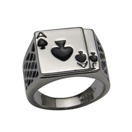 Wholesale 18k Enamel Ring - 2014 Hotsale Cool Men's Jewelry Chunky 18K White Gold Plated Black Enamel Spades Poker Ring Men
