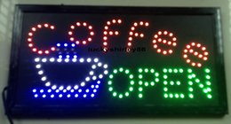Wholesale Display Size Inches - Led coffee open neon sign lights size 10*19 inch indoor advertising led display