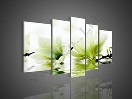 Wholesale Green Painting Wall Decors - 100% Hand Painted High Quality Green Abstract 5P Camellia Flower Decor Oil Painting On Canvas Home Wall Modern For Living Room