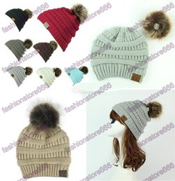 Wholesale White Fedora Women - Unisex CC Trendy Hats Winter Knitted Fur Poms Beanie Label Fedora Luxury Cable Slouchy Skull Caps Fashion Leisure Beanie Outdoor Hats