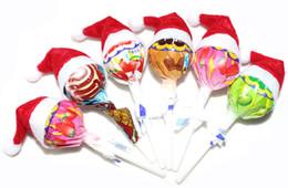 Wholesale Lollipop Ornament - 1800pcs lot Christmas lollipops candy small hat adornos navidad Christmas Decoration natal Supplies Santa Claus hat