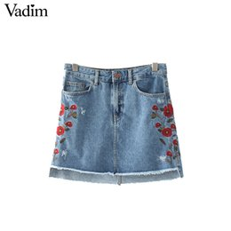 Wholesale Ladies Denim Skirt Mini - Wholesale- Vadim women sweet floral embroidery denim skirts vintage pockets faldas European style ladies fashion mini A-line skirts BSQ571
