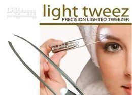 Wholesale Led Trims - Dahoc Stainless Steel LED Eyebrow Tweezers Light Eyelash Curler Tweezer Trimmer Makeup Tools 10pcs