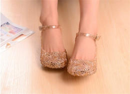 Wholesale Girls Crystal Wedge - 60pcs NEW Girl Queen Elsa Princess Sandals Anime Cosplay Shoes Fashion Lolita Sweet Children's Shoes Wedge Cheap Hollow Crystal Shoes D016