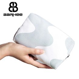 Wholesale Travel Pillow Packaging - Wholesale !Travel Necessaries Women Cosmetics Bag High Quality Korean Canvas Makeup Bags Cotton Zipper Storage Package Gray