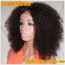 Wholesale Half Wig Afro - Afro Kinky Curly Hair Full Lace Wig Grade 8A 100% Virgin Human Hair Brazilian Wigs For Black Women With Baby Hair Bleached Knots