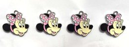Wholesale Bow Metal Jewelry - Wholesale - Free shipping new pink minnie mouse with bow Cartoon Enamel Figures Phone Charm Figures Pendant DIY jewelry making