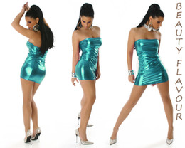 Wholesale Hot Sleeveless Clothes For Women - 2015 Hot Dresses for Women PU Leather Bright Color Night Club Clothing Sheath Sexy Dress Strapless Halter sexy Summer Women's dresses