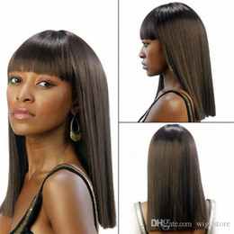 Wholesale Vietnamese Girl - New Style 130% Density Lace Front Wigs Heat Resistant Silk Straight Natural Wigs With Full Bangs For Beautiful Girls