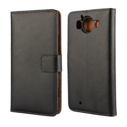 Canada En gros Haute Qualité En Cuir Véritable Couverture de portefeuille Pour Microsoft Lumia 950 avec Book Style Stand et titulaire de la carte Couverture de téléphone Offre