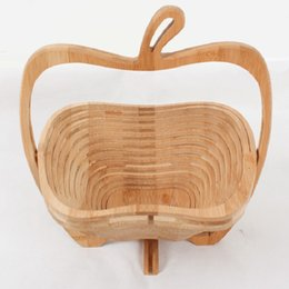 Wholesale Food Apples - Popular Wooden Vegetable Basket With Handle Apple Shape Fruit Baskets Foldable Eco Friendly Skep Fashion Top Quality 16ad B