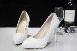 Wholesale High Heels 5cm - 2015 New Arrival Ivory Pearls Lace Bridal Wedding Shoes 5CM Or 11CM Stiletto High Heels Pointed Toe Free Shipping WS2