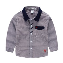 Wholesale Cool Shirts Collar Style - Cool 2016 Spring summer Children clothing England plaid Gentle casual boy long sleeve shirts kids clothing wholesale 90-140